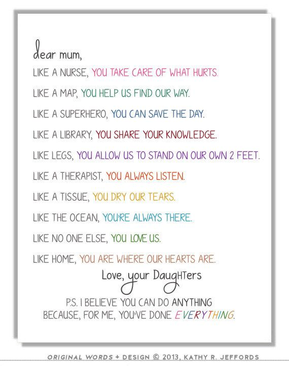 Personalized Letter To Mom Or Mum Typographic by thedreamygiraffe