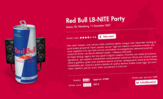 Red Bull: Internal event website for Red Bull - Jamel Interactive interactive agency Gdansk, Tricity