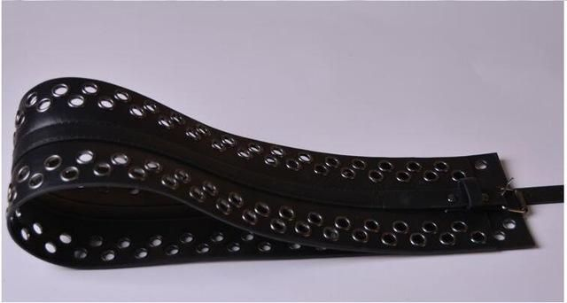 Fashion Designer Black wide Faux Leather belt adjustable slim corset body shaper Grain retro design Full Punk Rivet Waist belt