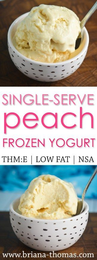 Single-Serve Peach Frozen Yogurt - refreshing post-workout snack with tons of protein - Trim Healthy Mama friendly - THM:E - low fat - no sugar added - gluten free - egg free - nut free - five ingredients - quick and easy - no special ingredients