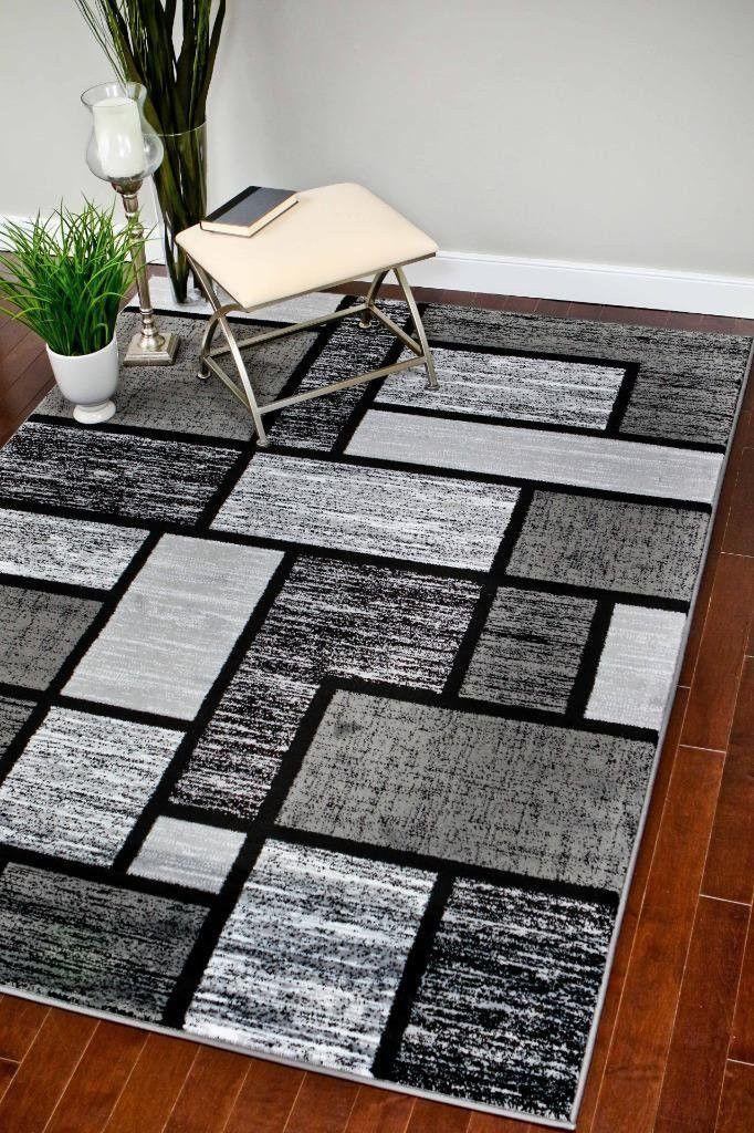 3599 Gray Square Contemporary Area Rugs