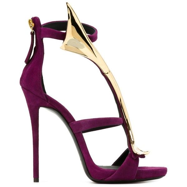 Giuseppe Zanotti Design Strappy Sandals ($572) ❤ liked on Polyvore featuring shoes, sandals, heels, stiletto heel sandals, strap heel sandals, leather shoes, purple stilettos and strappy stiletto sandals