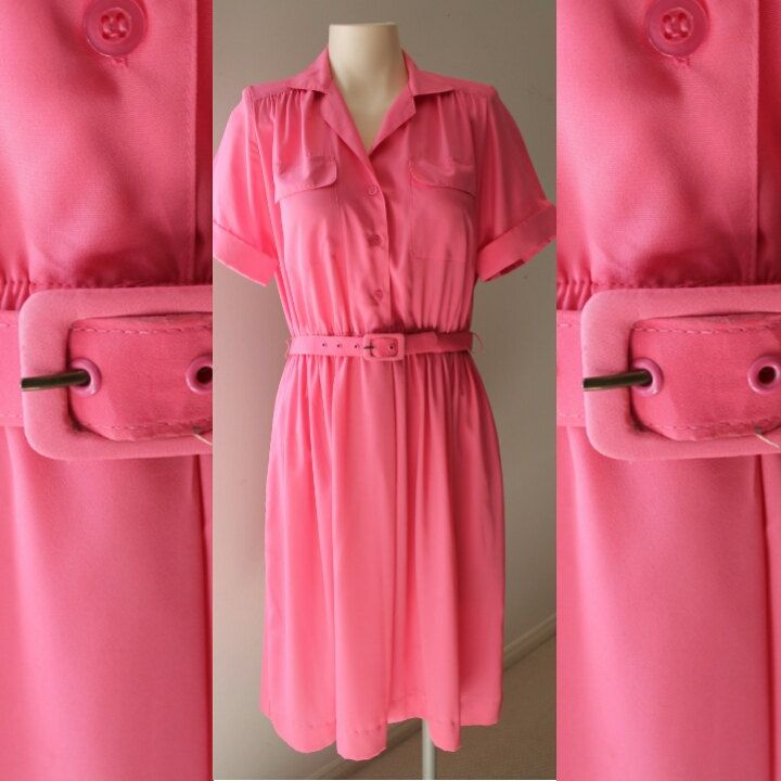 80's Pink Collared Dress w/ Belt - Size: Small/Medium by HotMamaVintage on Etsy