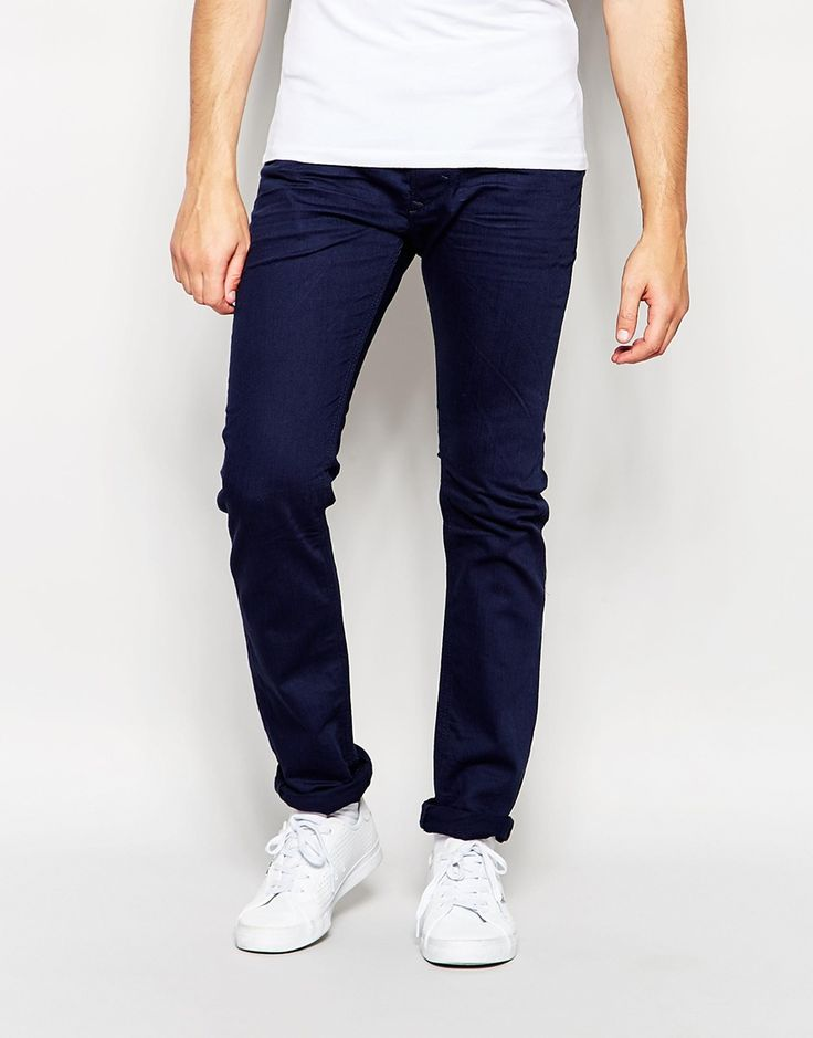 Image 1 ofDiesel Jeans Thavar 847E Slim Tapered Fit Bright Blue.