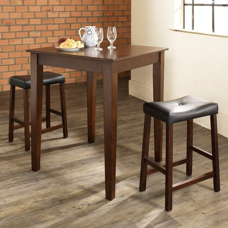 $239 Vintage Mahogany    3-Piece Pub Dining Set with Tapered Leg and Upholstered Saddle Stools - Pub Table Sets at Great Pub Tables