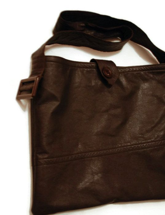 SALE Dark brown/cocoa brown leather bag /upcycled by leonorafi