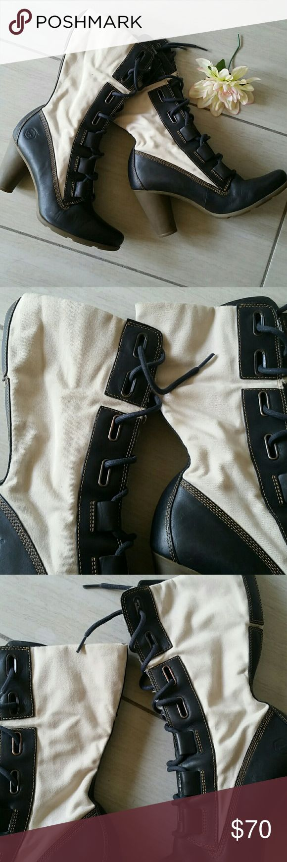 """Timberland high heel lace up combat boots. In excellent condition.  Black and beige color. Heel about 3"""" high.  Beige color fabric has some stains hard to notice in pics. Genuine leather, man made upper and lining. Size 8.5M. Timberland Shoes Combat & Moto Boots"""