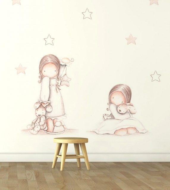 Mural infantil de papel pintado ni as en pijama i - Papel pintado bebe nina ...