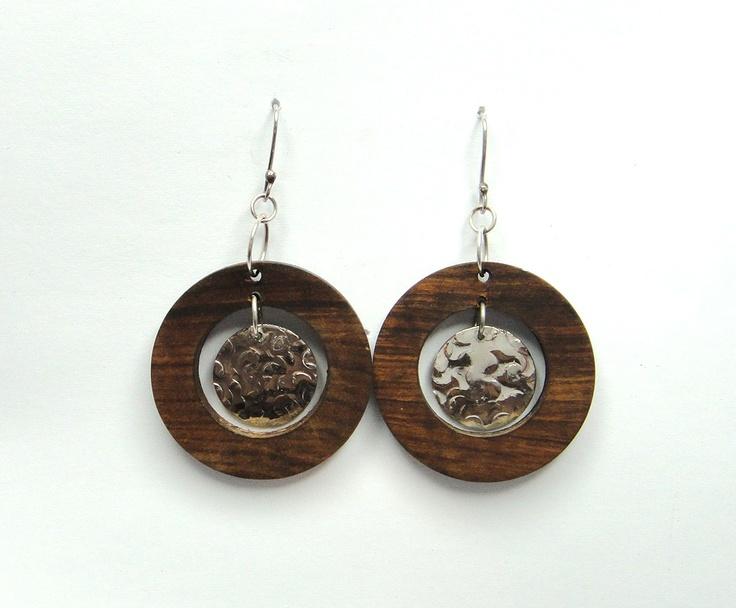 Name: Lara  Wood and silver Earrings