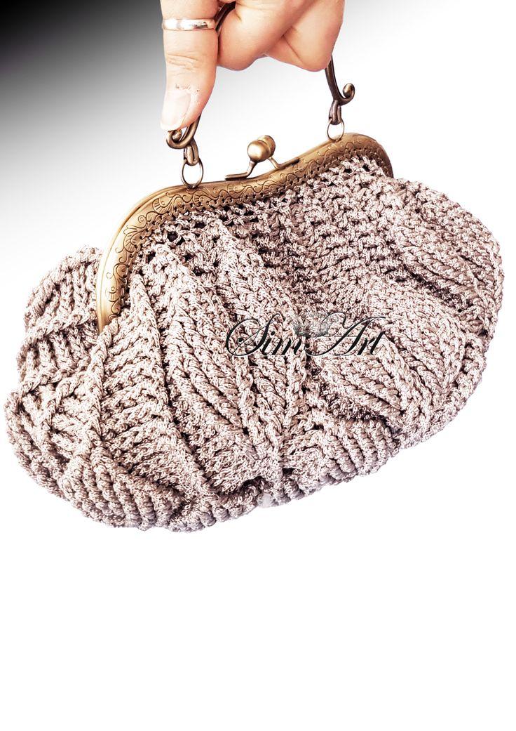 Crochet embossed leaves bag♥
