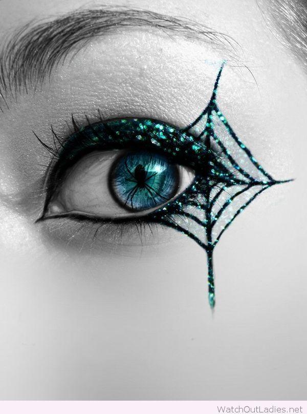 Blue glitter eye makeup for Halloween