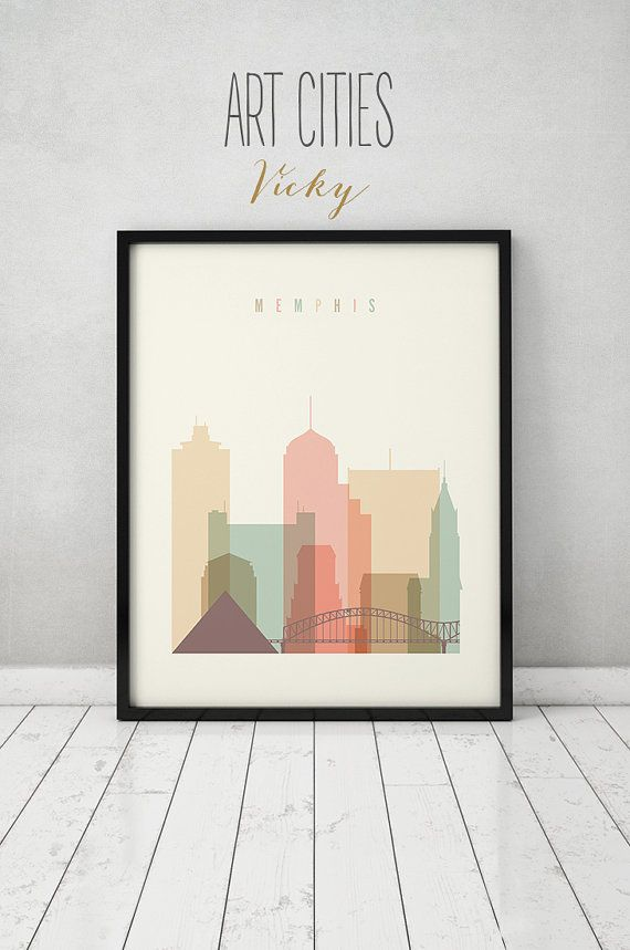 Memphis print, Memphis Poster, Wall art, Memphis Tennessee skyline, City poster, Typography art Home Decor Digital Print, ART PRINTS VICKY.