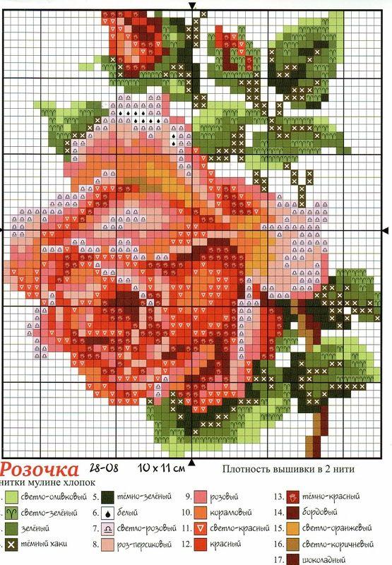 вышивка роза
