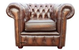 Chesterfield London Low Back Club ArmChair Antique Brown Leather