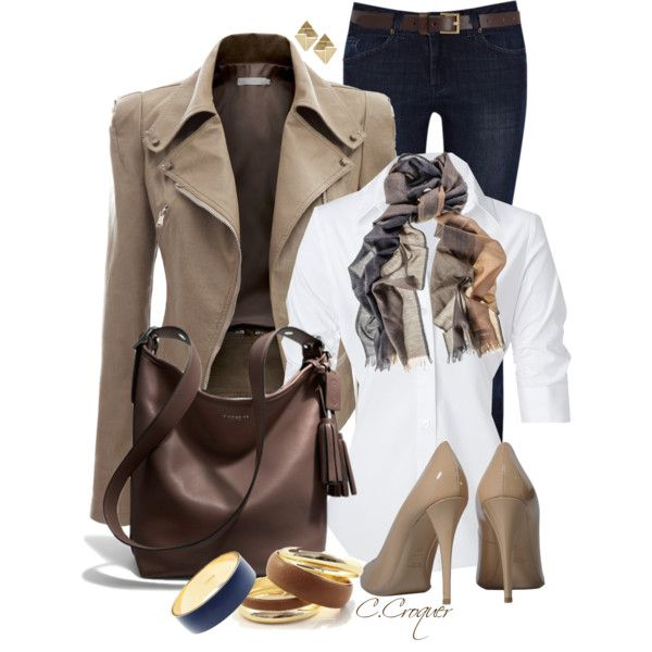 """""""Leather Jacket & Jeans"""" by ccroquer on Polyvore"""