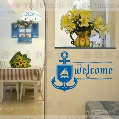 Free Shipping Wholesale and Retail Large anchor Mediterranean Style Wall Stickers Wall Decals Decal Home Decor