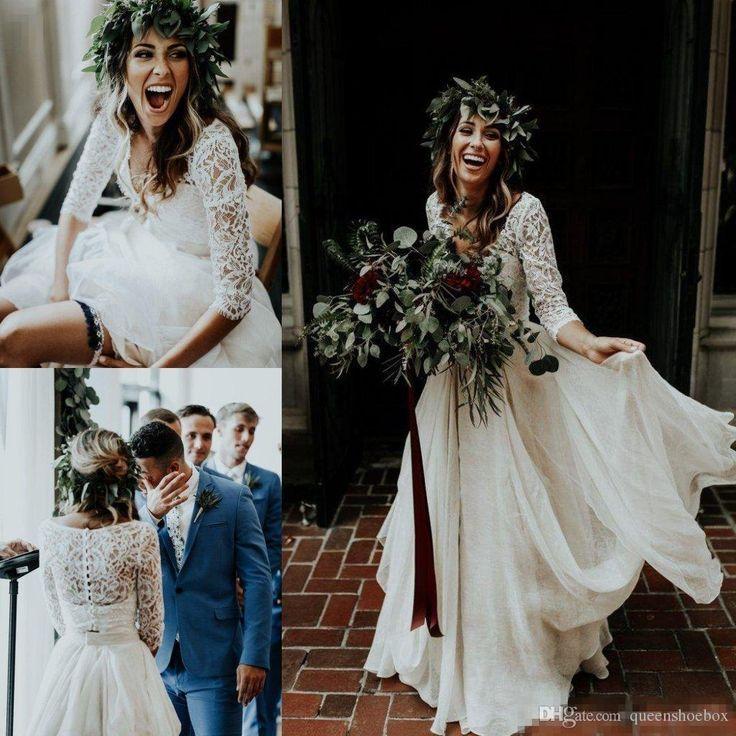2019 Vestidos de novia baratos de dos piezas con mangas largas Top de encaje con volantes Boho Tallas grandes Bohemian Beach Vestidos de fiesta nupciales abiti da sposa
