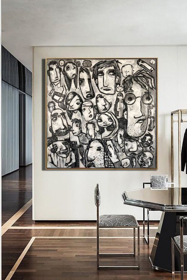 Large Faces Abstract Painting Abstract Acrylic Painting On Etsy Abstract Painting Art Painting Art