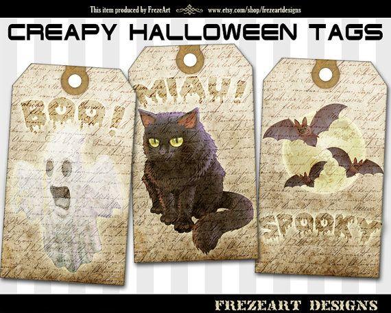 Halloween gift tags Printable spooky gift tags di FrezeArtDesigns, $3.40