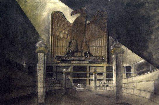 Ferretti's sketch for the interior of the Roman senate for the 1998 movie Titus.  Image courtesy of Dante Ferretti