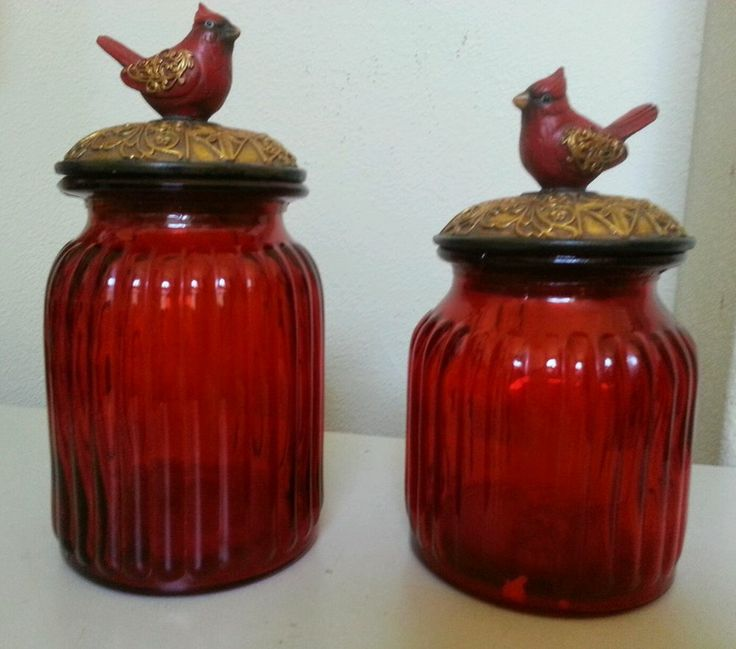 Set Of 2 Pc. Ruby Red Glass Kitchen Canisters Set Tuscan Drake Design #Drake