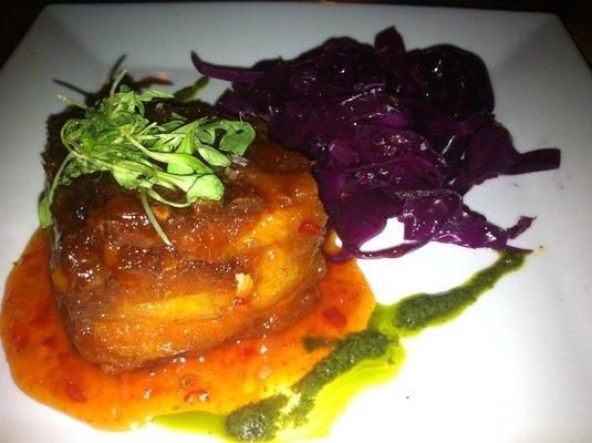 Pork belly plate sweet chili glaze spicy pickled cabbage for Brownsville fish fry