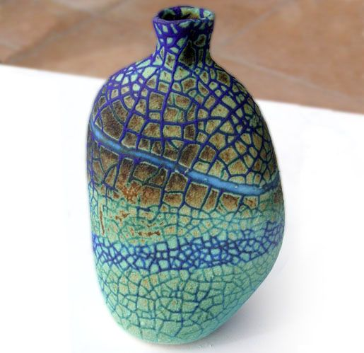 Pauline Barnden  Small Vessel   Dimensions: 15cm (6in) approx. dia.   Material: Porcelain  Firing Temperature: 1200 deg. c   Glaze: Barium based
