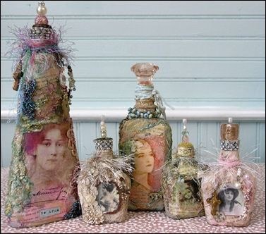 Love this idea of mixing different elements of vintage jewelry,eyelash trim and beads to create these one of a kind bottles by Gail Schmidt !