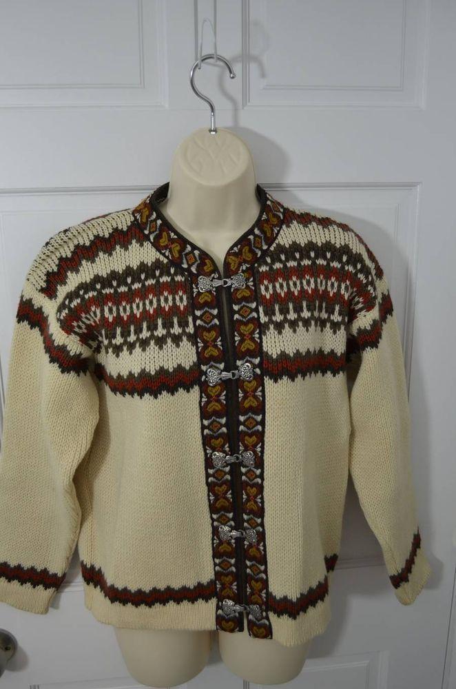 vintage NESJAR NORWAY 100% wool nordic ski cardigan sweater XXS FLAW #Nesjar #Cardigan