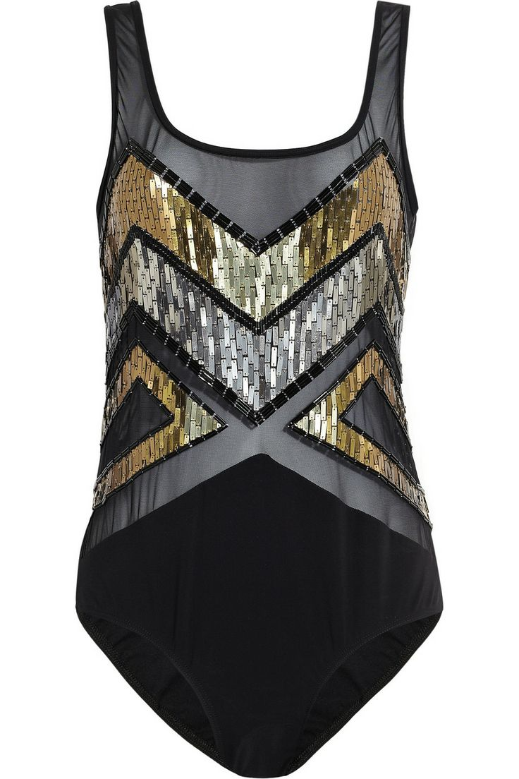 JETS by Jessika Allen White Label Decadence embellished mesh swimsuit #DateNight #JetsbyJessikaAllen #THEOUTNET