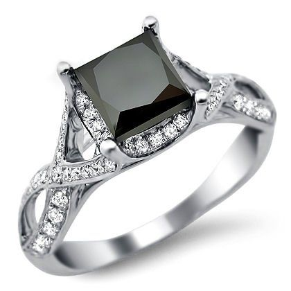 2.30ct Princess Cut Black Diamond Engagement Ring 18k White Gold by Front Jewelers http://blackdiamondgemstone.com/jewelry/wedding-anniversary/engagement-rings/230ct-princess-cut-black-diamond-engagement-ring-18k-white-gold-com/#!prettyPhoto