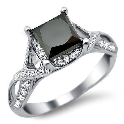 3.20ct Black Princess Cut Diamond Engagement Ring 18k White Goldby Front Jewelers - See more at: http://blackdiamondgemstone.com/jewelry/wedding-anniversary/engagement-rings/320ct-black-princess-cut-diamond-engagement-ring-18k-white-gold-com/#sthash.ilfF3j1N.dpuf
