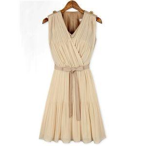 Apricot Sleeveless V Neck Belt Pleated Dress   berlinmo