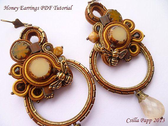 TUTORIAL ONLY Soutache earrings pdf tutorial in por CsillaPapp