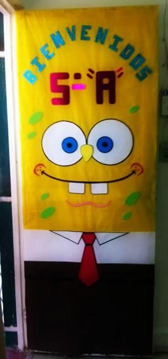 Puerta decorada de Bob esponja