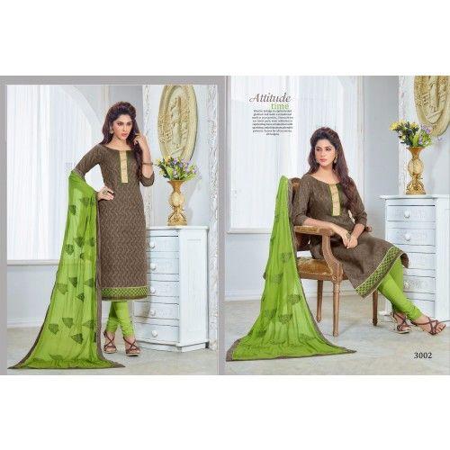 Unstitched Salwar Kameez looks for inspiration Brown With Green color Designer Salwar Suit