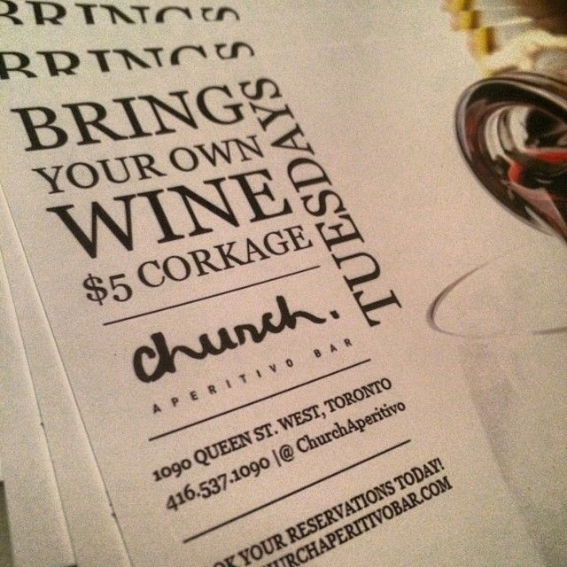 Bring in your favourite bottle of wine & let's match it with a Church favourite! #toronto #queenwest #wine #tastetoronto
