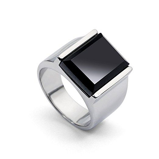 UK Gifts - Black Onyx Titanium Stainless Steel Men's Index Finger Ring Fascinating Concise Ring (11# internal diameter 21.5mm). It is an Amazon affiliate link.