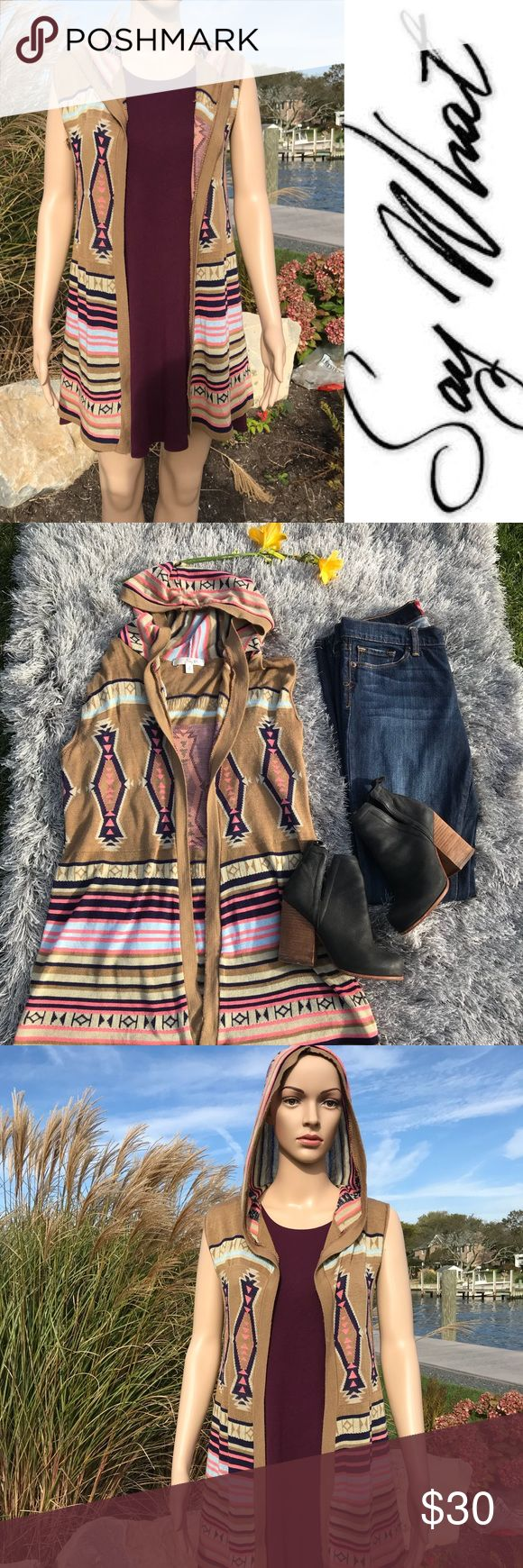 💜🌸SALE!!🌸💜  Say What aztec vest Say What Aztec Vest  new without tags  offering bundle discounts , BUY 2 ITEMS GET 3RD HALF OFF  & accepting all reasonable offers Say What? Jackets & Coats Vests