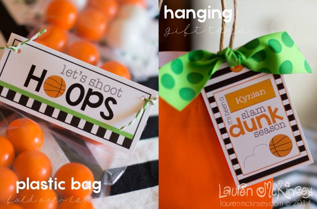 Celebrate BASKETBALL printable collection from Lauren McKinsey. Give the basketball team their own gift bags with custom gift tags and coordinating sports gifts they'll love.
