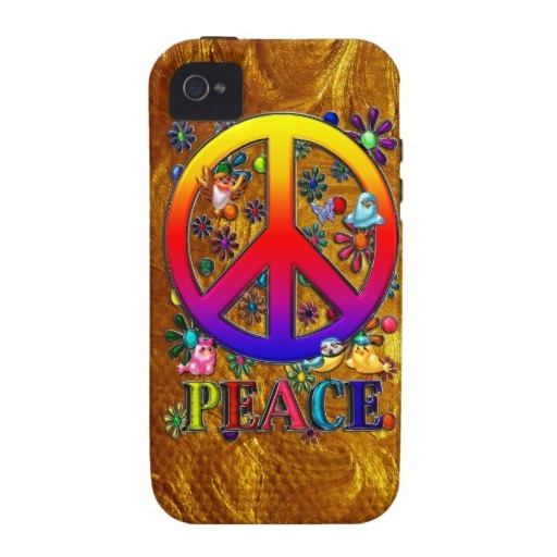 $53.95 Modern Retro Peace Sign Text Birds & Flowers iPhone 4 Case-Mate Cases