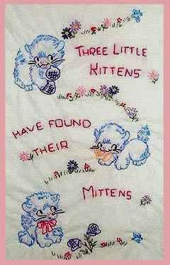Vintage Baby--Embroidered Crib Blanket. I'm pretty sure I have something like this in with my baby things.