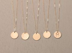 $27.00 Blank or Personalized Gold Circle Necklace - Simple, Modern, Everyday Gold Necklace. Beautiful, Hand-Hammered 14k Gold Filled Tag can be left