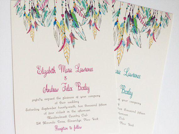 Feather wedding invitation - http://themerrybride.org/2015/06/20/wedding-invitations-on-etsy-com-2/