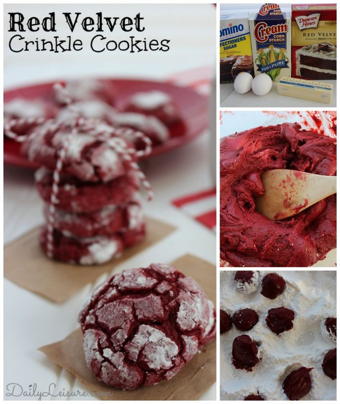 Red Velvet Crinkle Cookies - Daily Leisure