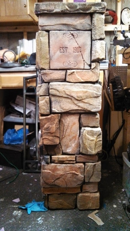 Stone Cemetery Columns : Cemetery columns made from foam board plywood glue and