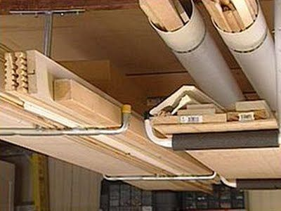 For the garage. Really like the tubing hanging from the ceiling for all the pesky lumber.