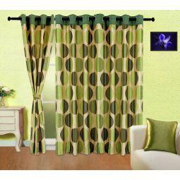 Cortina Contemporary Eyelet Curtain Green