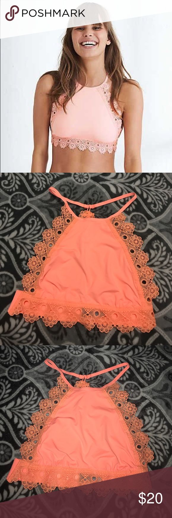 Aerie Hi-Neck Lace Trim Bralette, Pink XS New without tag. Never worn! Gorgeous sorbet pink bralette featuring a high neck design and lace trimming racer back. aerie Intimates & Sleepwear Bras