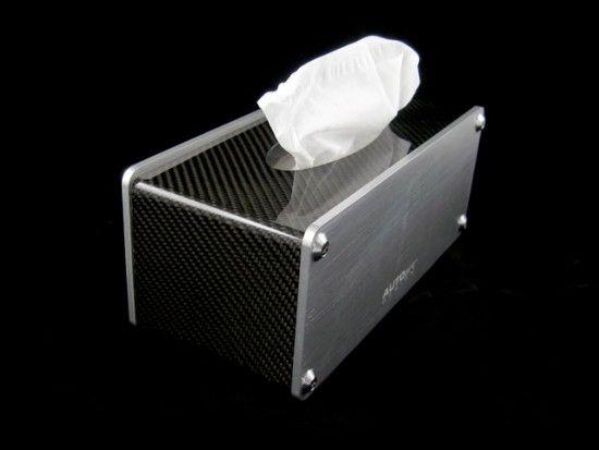 LEGIT modern tissue box. Made from carbon fiber aluminum.